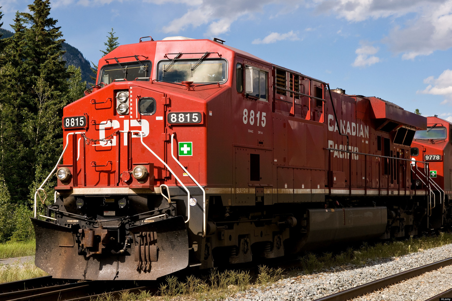 A Canadian Pacific AC44 locomotive standing in Banff Station.