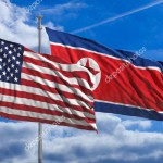 North Korea and America waving flags on blue sky. 3d illustration