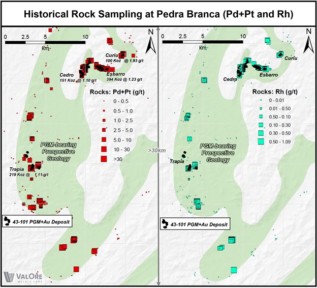 ValOre Reports Rhodium Assays from Pedra Branca PGE Project, Brazil: Initial results from Esbarro Deposit yield up to 1
