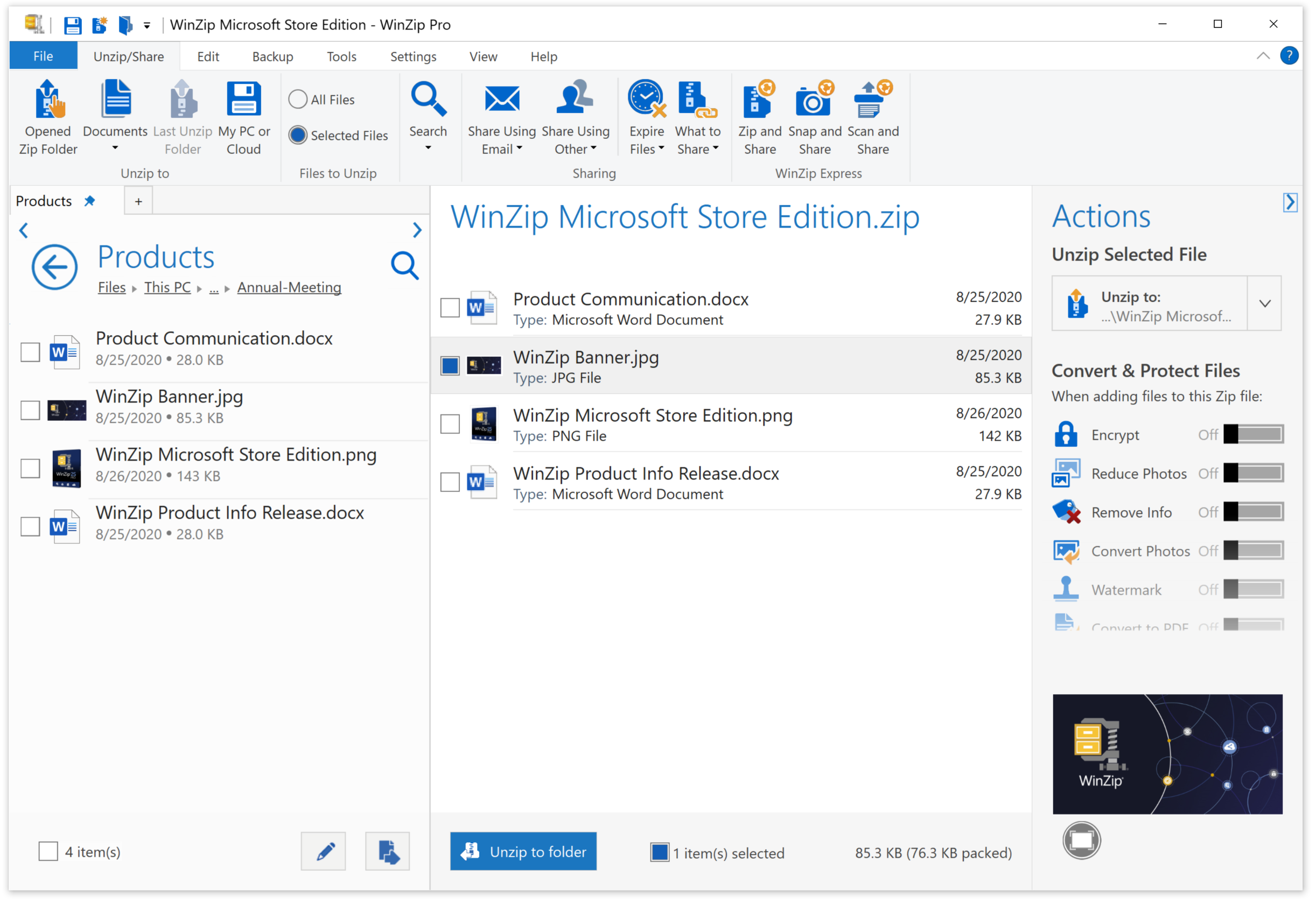 WinZip Microsoft Store Edition Adds Support for Microsoft Teams