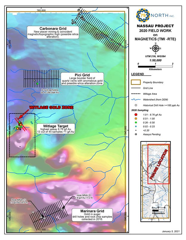 79North Inc.: First Sampling Results From the Nassau Gold Project, Suriname, Delineates 300 Metre Long Gold Zone With Rock Chip Samples Containing up to 8